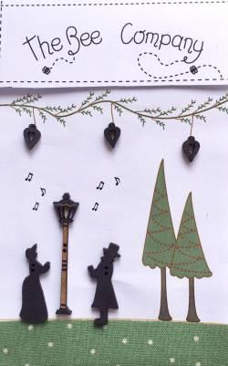 Knopf, Holzknopf  Weihnachten TBN20 Laterne, 3 Herzen, 2 Carol Singer