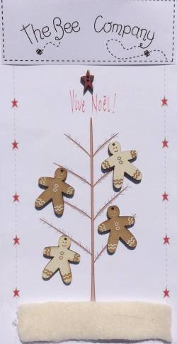 Knopf, Holzknopf  Weihnachten TBN12 Gingerbread men, Lebkuchenmänner , 1 Stern