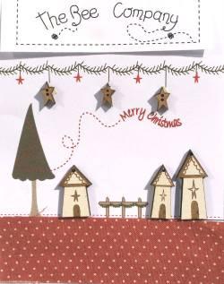 Knopf, Holzknopf  Weihnachten TBN21 drei Häuser, 3 Sterne