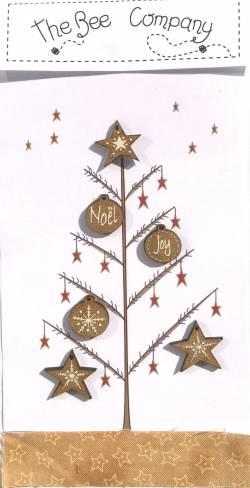 Knopf, Holzknopf  Weihnachten TBN18 sechs Ornamente f. Weihnachtsbaum