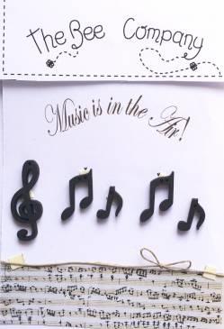 Knopf, Holzknopf TB2M Musik Notenschlüssel und 4 Noten