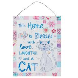 Textschild Textplatte *This Home is Blessed with Love, Laughter, and a Cat*
