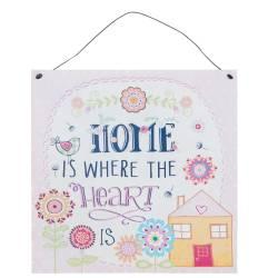 Textschild Blechschild *Home Is Where the Heart Is*  Haus Blumen Vögel orange grün rosa blau 6Y1828