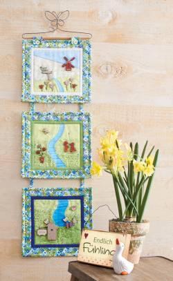 Nähanleitung Wandquilt `Frühlingsgefühle` 3-teilig