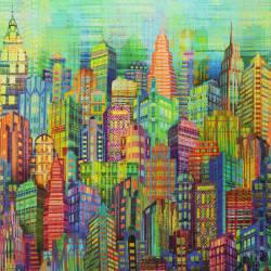 Patchworkstoff Quilt Stoff Panel City Light Skyline Hochhäuser Digitaldruck Sling Along