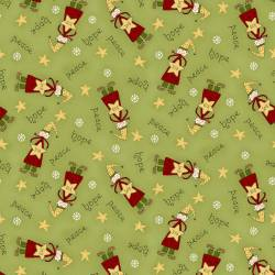 Patchworkstoff Quilt Stoff Green Tossed Elves Christmas