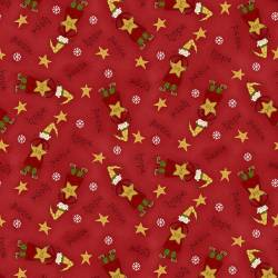 Patchworkstoff Quilt Stoff Red Tossed Elves Christmas