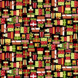 Patchworkstoff Quilt Stoff Black Christmas Presents Christmas Geschenke