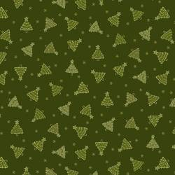 Patchworkstoff Quilt Stoff Green Tonal Trees Christmas