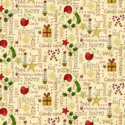 Patchworkstoff Quilt Stoff Cream Words Print Christmas