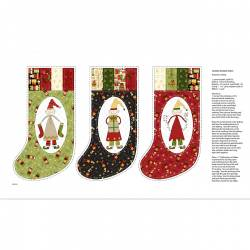 Patchworkstoff Quilt Stoff Cream Stocking Panel Christmas