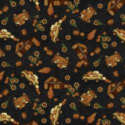 Patchworkstoff Quiltstoff *Country Journey* Black Novelty Fall schwarz HG2433-99