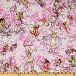 Patchworkstoff Quilt Stoff Fee, Elfe, Petal Flower Fairy pink
