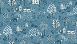 Patchworkstoff Quilt Stoff Makower *Grove Scenic* Deep Blue
