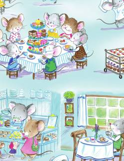 Patchworkstoff Stoff Quilt Cute Mice Having Tea / Goldige Mäuse beim Tee trinken