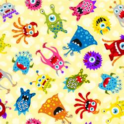 Patchworkstoff Quilt Stoff Yellow Aliens Monsters