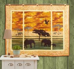 Materialpackung Wandquilt *Savanne* 120x95cm Tolle Elefanten im Steppengras
