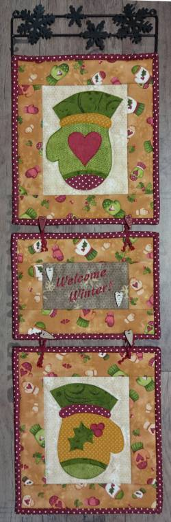Materialpackung Wandquilt 3-teilig `Welcome Winter` 22 x71cm