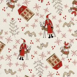 Patchworkstoff Quilt Stoff Weihnachten Rentier creme Skandinavien 706908L-10