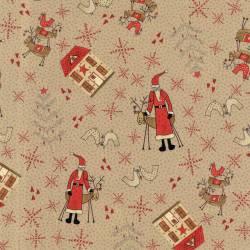 Patchworkstoff Quilt Stoff Rentier Haus Weihnachten cappuccino 706908L-11