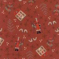 Patchworkstoff Quilt Stoff Rentier Weihnachten rot Skandinavien 706908L-30