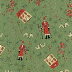 Patchworkstoff Quilt Stoff Rentier Weihnachten grün Skandinavien 706908L-60