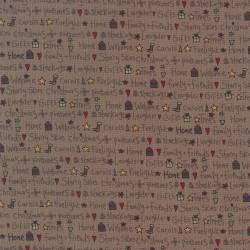 Patchworkstoff Quilt Stoff Geschenk Socken Sterne braun Weihnachten 706910L-80