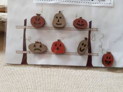 Knopf, Holzknopf TBHA8 7 Halloween Kürbisse