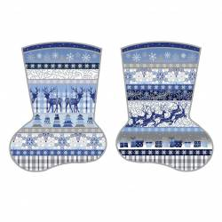 Patchworkstoff Stoff Panel *Blue Holidays* 4 Stockings Stiefel