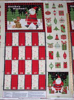 Patchworkstoff Stoff Panel *Santa and Friends* Adventskalender