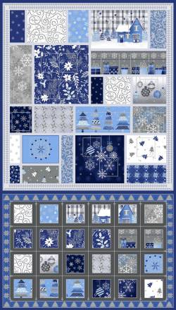 Patchworkstoff Stoff Panel *Blue Holidays* Adventskalender