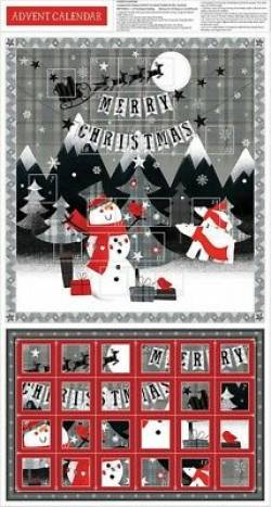 Patchworkstoff Stoff Panel *Red + Grey Christmas* Adventskalender