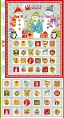 Patchworkstoff Stoff Quilt Panel *Festive* Adventskalender 2106