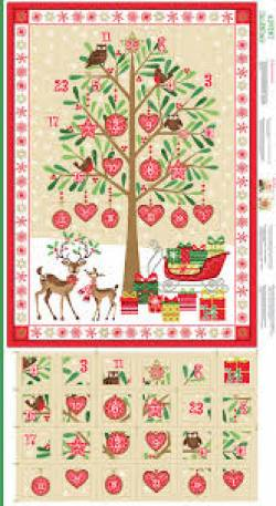 Patchworkstoff Stoff Panel *Metallic Advent Calender* Adventskalender Rentier