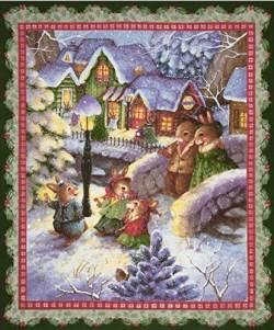 Patchworkstoff Weihnachten Panel Hasenfamilie Weihnachtsdorf