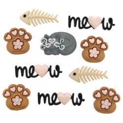 Knopf Packung *Meow* Pfoten Fischgräte Katze Schriftzug braun grau schwarz rosa 9348