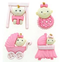 Knopf Packung `Baby Fun Girl`