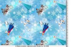 Patchworkstoff Quilt Stoff Eiskönigin Frozen mit Olaf, Anna, Elsa und Sven