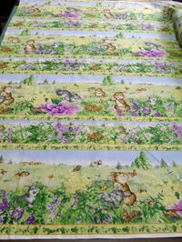 Patchworkstoff Ostern Bordüre Streifen Bunnys day out 50 x 110cm