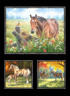 Patchworkstoff Quilt Panel Stoff Pferde Multi Horse *Pastoral Song* PASO4085-MU