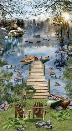 Patchworkstoff Quilt Panel Stoff Lake Bootssteg See Angeln Ferien