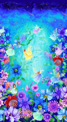 Patchworkstoff Quilt Panel Stoff Digital Aqua Fairy Fantasy Panel