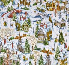 Patchworkstoff Quilt Stoff Winter Village Snowy Church Houses Winterdorf