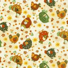 Patchworkstoff Quilt Stoff Ostern All Cooped Up Henry Glass  Hühner
