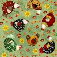 Patchworkstoff Quilt Stoff *All Cooped UP* Ostern Hühner Blumen Huhn gelb rot braun grün HG 6872-66