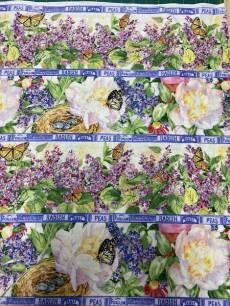 Patchworkstoff Quilt Stoff Fruehlingsstoff Blumenwiese in Streifen *Symphony of Spring*