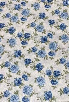Patchworkstoff Quilt Stoff blaue Rose auf creme farbenem Hintergrund *Romance*
