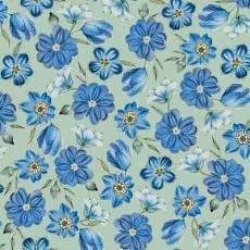 Patchworkstoff Stoff Quilt blaue Blümchen auf grünem Hintergrund