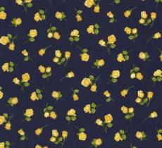 Patchworkstoff Stoff Quilt Timeless Treasure *Angelica* Gelbe Rosen auf dunkelblauem Hintergrund