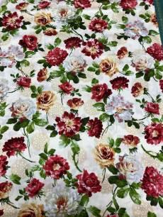 Patchworkstoff Quilt Stoff Rosen, creme farbener Hintergrund *A Rose is a Rose*